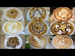 9 different latte art designs – YouTube