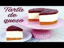 Tarta de queso con mermelada de fresa | Postre sin horno | Mi tarta preferida